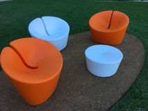 Modern outdoor design chairs and table Royalty Free Stock Photography