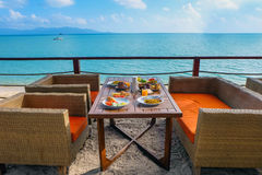 Modern outdoor ocean view restaurant Royalty Free Stock Photo