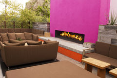 Modern Outdoor Patio Fireplace Royalty Free Stock Photos