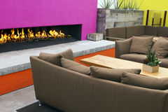 Modern Outdoor Patio Fireplace Royalty Free Stock Photo
