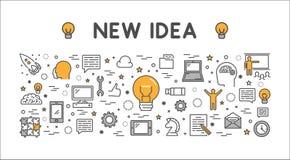 Modern outline horizontal banner for big idea. Stock Photos
