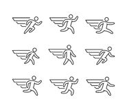 Modern outline runners icons Stock Photography