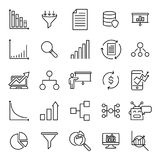 Modern outline style analysis icons collection. Premium quality symbols and sign web logo collection. Pack modern infographic logo and pictogram. Simple chart Royalty Free Stock Photos