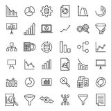 Modern outline style analysis icons collection. Royalty Free Stock Images