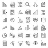 Modern outline style analytic icons collection. Stock Photo