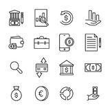 Modern outline style banking icons collection. Premium quality symbols and sign web logo collection. Pack modern infographic logo and pictogram. Simple money Royalty Free Stock Photography