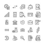 Modern outline style banking icons collection. Premium quality symbols and sign web logo collection. Pack modern infographic logo and pictogram. Simple money Royalty Free Stock Photos