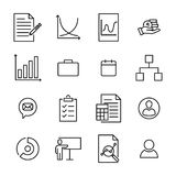 Modern outline style business icons collection. Royalty Free Stock Photography