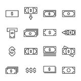 Modern outline style dollar icons collection. Premium quality symbols and sign web logo collection. Pack modern infographic logo and pictogram. Simple money Stock Images