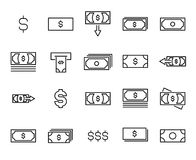 Modern outline style dollar icons collection. Premium quality symbols and sign web logo collection. Pack modern infographic logo and pictogram. Simple money Royalty Free Stock Images