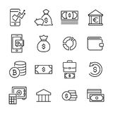 Modern outline style finance icons collection. Premium quality symbols and sign web logo collection. Pack modern infographic logo and pictogram. Simple money Royalty Free Stock Photography