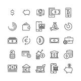 Modern outline style finance icons collection. Premium quality symbols and sign web logo collection. Pack modern infographic logo and pictogram. Simple money Royalty Free Stock Photos