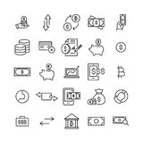 Modern outline style finance icons collection. Premium quality symbols and sign web logo collection. Pack modern infographic logo and pictogram. Simple money Royalty Free Stock Images