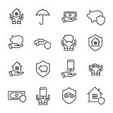 Modern outline style insurance icons collection. Stock Photos