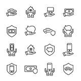 Modern outline style insurance icons collection. Royalty Free Stock Photo