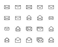 Modern outline style mail icons collection. Premium quality symbols and sign web logo collection. Pack modern infographic logo and pictogram. Simple e-mail Royalty Free Stock Photography