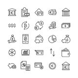 Modern outline style money icons collection. Premium quality symbols and sign web logo collection. Pack modern infographic logo and pictogram. Simple finance Stock Images