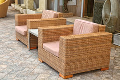 Modern Outside Patio Furniture Stock Photo