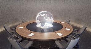 Modern oval meeting room with planet Earth globe stock photo