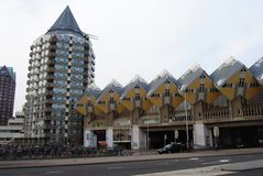 Modern overpass bridge in Rotterdam. Stock Images
