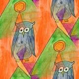 Modern owl seamless  watercolor artist wallpaper texture of hand Stock Photo
