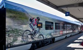Modern painted train in Innsbruck train station, Austria Royalty Free Stock Photos