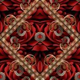 Modern paisley seamless pattern. Black red gold floral vector. Modern paisley seamless pattern. Black red gold floral vector background. Beautiful 3d wallpaper Stock Image