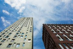 Modern palaces seen from below in Rotterdam. Modern palaces seen from below Royalty Free Stock Photography