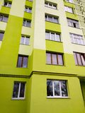 Modern panel apartment building with plastic windows and insulated walls royalty free stock photography