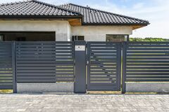 Free Modern Panel Fencing In Anthacite Color, Visible Wicket With Videophone And A House In The Background. Royalty Free Stock Images - 195061589