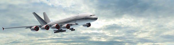 Modern panorama för passagerareflygplan i flykten Arkivfoton