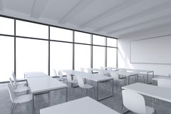A modern panoramic classroom with white copy space in the windows. White tables and white chairs and a whiteboard on the wall. 3D Stock Images