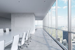 Modern panoramic conference room. A white rectangular table and chairs around it. Manhattan view, New York City