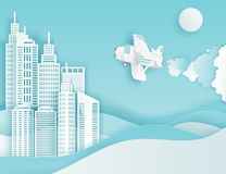 Modern paper art clouds, airplane, sun and city skyscrapers. Modern paper art clouds, airplane, sun and city skycrapers. Cute cartoon fluffy clouds and waves royalty free illustration