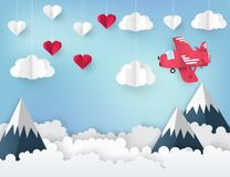 Modern paper art origami background. Airplane. With banner for text, white and red paper hearts,  fluffy clouds, mountains, blue sky. Valentine`s day, wedding Stock Images