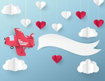Modern paper art origami background. Airplane. With banner for text, white and red paper hearts,  fluffy clouds, blue sky. Valentine`s day, wedding invitation Stock Photography