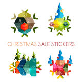 Modern paper Christmas stickers Royalty Free Stock Photo