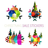 Modern paper Christmas stickers Royalty Free Stock Image