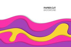 Modern paper cut cover template with cartoon colorful abstract waves splash stock illustration