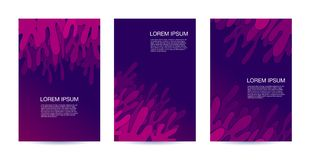 Modern paper cut 3D geometric covers set. Tree Minimal colorful trendy templates design. Cool gradient shapes of splash water in stock illustration