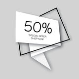 Modern paper cut geometric sale banner, special offer, 50 percents discount.  Stock Photography