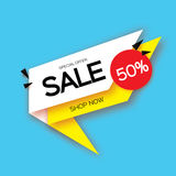 Modern paper cut geometric sale banner, special offer, 50 percents discount. Origami Trendy Label tag temlate. Shop now Stock Image