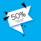Modern paper cut geometric sale banner, special offer, 50 percents discount. Origami Trendy Label tag temlate. Shop now. Space for text. Blue background vector illustration