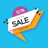Modern paper cut geometric sale banner, special offer, 50 percents discount. Origami Trendy Label tag temlate. Shop now Royalty Free Stock Photo
