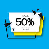 Modern paper cut geometric sale banner, special offer, 50 percents discount. Origami Trendy Label tag temlate. Shop now Royalty Free Stock Image