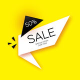 Modern paper cut geometric sale banner, special offer, 50 percents discount. Origami Trendy Label tag template. Shop now Royalty Free Stock Photography