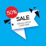 Modern paper cut geometric sale banner, special offer, 50 percents discount.   Stock Photos