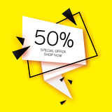 Modern paper cut geometric sale banner, special offer, 50 percents discount. Origami Trendy Label tag template. Shop now Stock Photo