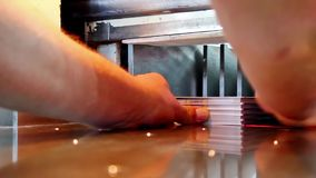 Modern paper guillotine with touch screen Stock Photography