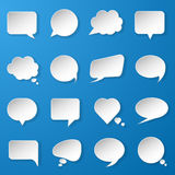 Modern paper speech bubbles set on blue background for web, bann Royalty Free Stock Image